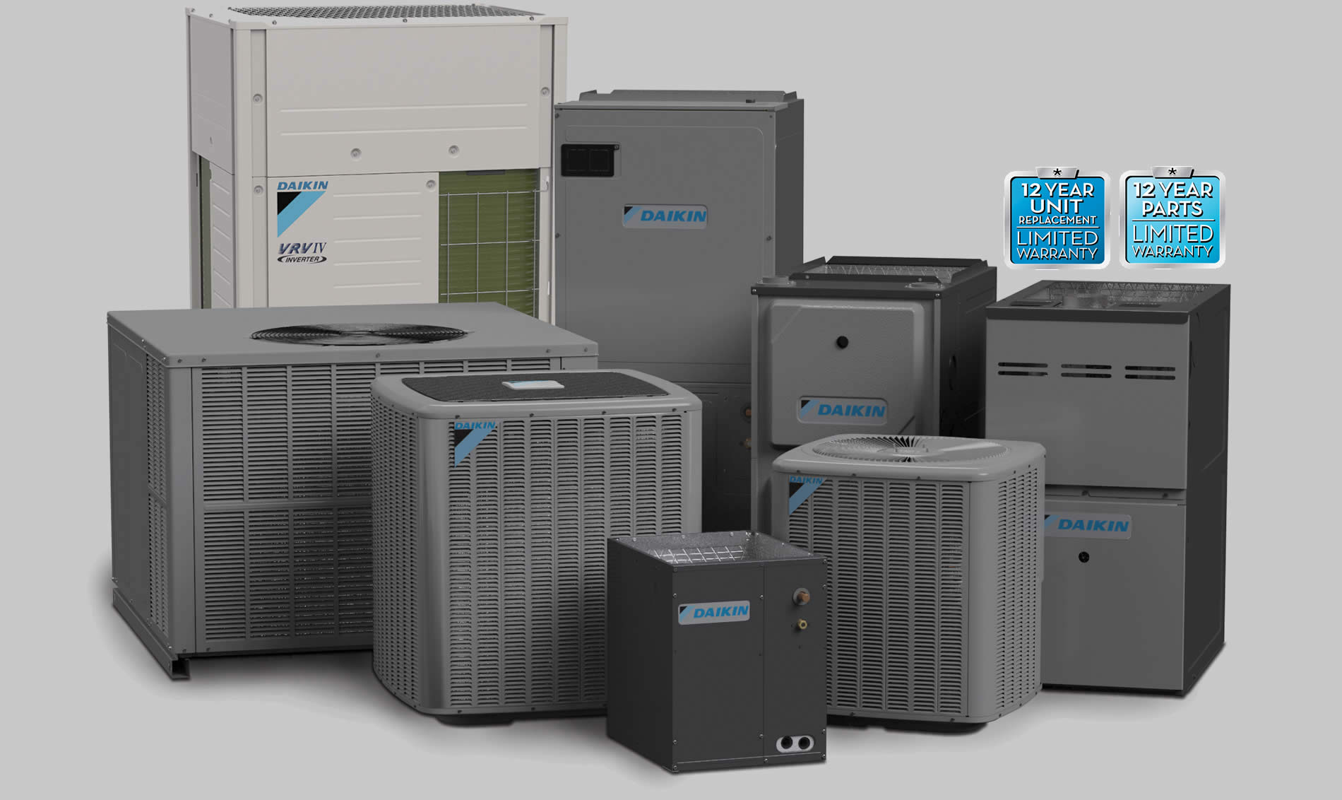 Daikin heating and cooling units in a group